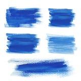 Bright blue watercolor brush strokes Royalty Free Stock Photos