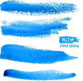 Bright blue watercolor brush vector strokes Royalty Free Stock Photo