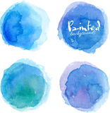 Bright blue watercolor painted stains set Royalty Free Stock Photos