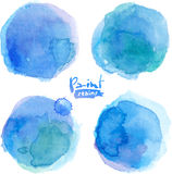 Bright blue watercolor painted stains set Stock Photo