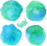 Bright blue watercolor painted stains set Stock Photography