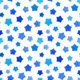 Bright blue watercolor stars background can be copied without any seams. Hand drawing. Vector illustration. Painted shapes design elements set, collection Royalty Free Stock Photos