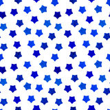 Bright blue watercolor stars background can be copied without any seams. Hand drawing. Vector illustration. Painted shapes design elements set, collection Royalty Free Stock Images