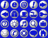 Bright Blue Website Buttons. Bright blue glass website buttons and symbols Royalty Free Stock Image
