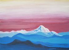 Bright blue white snow mountains. Drawing of bright blue white snow mountains, lines silhouette, pink yellow sky. Picture contains interesting idea, evokes royalty free illustration