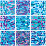Bright blue winter triangle pattern set Stock Image