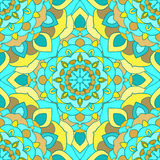Bright blue and yellow hand-drawing ornamental floral abstract seamless background with many details for use in design Royalty Free Stock Images