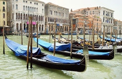 Bright boat in Venice canal, Italy Royalty Free Stock Images