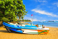 Bright boats on the tropical beach of Bentota, Sri Lanka Royalty Free Stock Photography