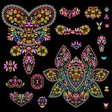 Bright bohemian ethnic cliche with paisley and decorative elements. Royalty Free Stock Photography