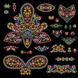 Bright bohemian ethnic cliche with paisley and decorative elements. Vector set of various ornaments, deco template. Oriental trendy print for decoration, gift Royalty Free Stock Photography