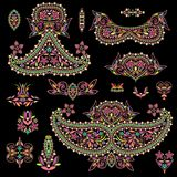 Bright bohemian ethnic cliche with paisley and decorative elements. Royalty Free Stock Images