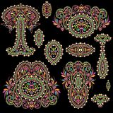 Bright bohemian ethnic cliche with paisley and decorative elements. Stock Photography