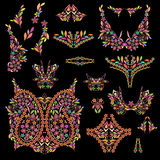 Bright bohemian ethnic cliche with paisley and decorative elements. Stock Photos