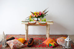 Bright boho flowers on the served table Stock Photo
