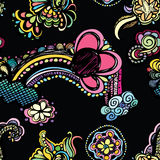 Bright Bold Doodle Pattern. A bright and bold pattern of doodles on a black background Stock Illustration