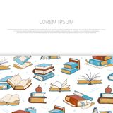 Bright books sketch banner design for shop vector illustration