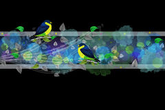 Bright border with painted birds and leaves Royalty Free Stock Images