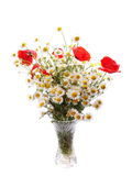 Bright bouquet daisy and red poppies in glass vase isolated on white Stock Photo