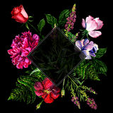 Bright bouquet from flowers, watercolor Royalty Free Stock Photo