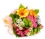 Bright Bouquet Isolated On White Stock Photography