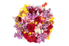 Bright bouquet of red roses, orchid and other flowers Stock Photography