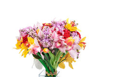 Bright bouquet of red roses, orchid and other flowers Royalty Free Stock Photo