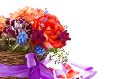 Bright bouquet of roses and spring flowers