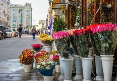 Bright bouquets of flowers are on the street near the flower shop royalty free stock image