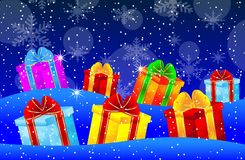 Bright boxes with gifts on to snow Stock Images