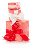 Bright boxes with white and red ribbons Royalty Free Stock Photography