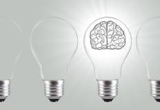 Bright brain idea bulb cocept creative Royalty Free Stock Photos