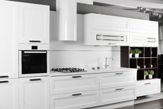 Bright brand new european kitchen Stock Photo