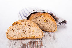 Bright bread still life, french country style. Royalty Free Stock Images