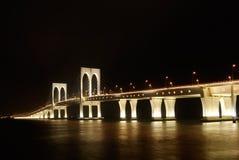 Bright bridge in dark night Royalty Free Stock Photo