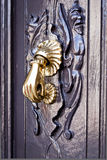 Bright bronze knocker on the  wooden door Royalty Free Stock Photography