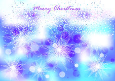 Bright bubbles and snowflakes background Stock Photography