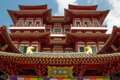 Bright Buddha Tooth Temple in Singapore. Bright buddhistic temple and blue sky Royalty Free Stock Photos