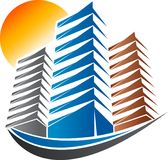 Bright building logo. Illustration art of a bright building logo with isolated background Stock Image