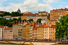 Bright buildings on the bank in Lyon Stock Images