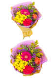 Bright buketny composition from fresh flowers, the white isolated background Royalty Free Stock Image