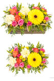 Bright buketny composition from fresh flowers, the white isolated background Royalty Free Stock Photography