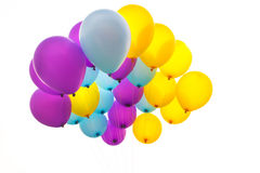 Bright bunch of colorful balloons background stock photos