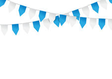 Bright buntings garlands isolated on white background. Decorated Stock Image