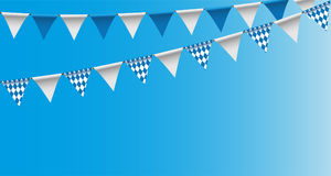 Bright buntings garlands with rhombus pattern, bunting festoon, background, Decorated in traditional colors of Bavaria Stock Images