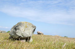 Bright burial stones. Burial stones from the iron age with bright sky Royalty Free Stock Images