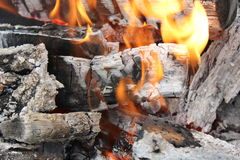 Bright burning fire of wood at fireplace 20444 Stock Photography