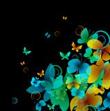 Bright butterflies on a black background. Vector Royalty Free Stock Image