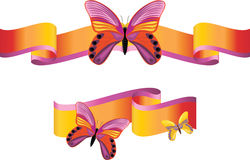 Bright butterflies on the shining ribbons Stock Images