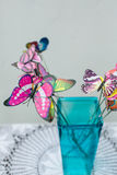 Bright butterflies. Bright butterflies in a vase Royalty Free Stock Image